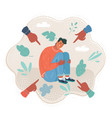 lonely shy man feeling sad and vector image vector image