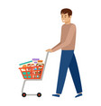 man and shopping cart with products health food vector image vector image