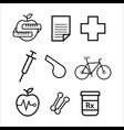 medicine sport fitness black icons symbol vector image