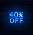 neon 40 off text banner night sign vector image vector image