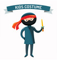 Ninja kid costume isolated vector image vector image