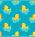 pattern with yellow rubber duck vector image vector image