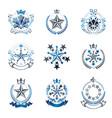 pentagonal stars emblems set heraldic coat of vector image vector image