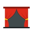 Red stage curtains icon flat style vector image vector image