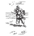 robinson crusoe at the water vintage vector image vector image
