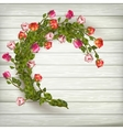 Roses wreath on wooden background EPS 10 vector image