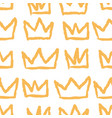 seamless pattern hand drawn grunge crown tags vector image