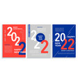 set 2022 new year bannersflyers in redbluewhite vector image