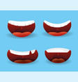 set funny mouth with teeth and tongue vector image