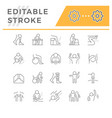 set line icons physical therapy vector image vector image