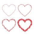set red hand drawn linear grunge hearts vector image