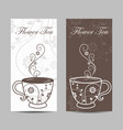 set vertical banners cup with floral design vector image vector image