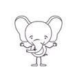sketch contour caricature of cute elephant vector image vector image