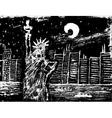 statue liberty at night vector image vector image