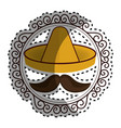 sticker vintage border with hat and moustache vector image vector image