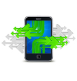 touch phone with green arrows mobile concept vector image