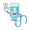 two finger infussion bottle character cartoon vector image