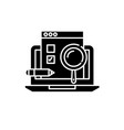 usability test black icon sign on isolated vector image vector image
