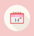 Valentines Day Calendar flat icon vector image vector image