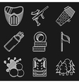 White flat line icons for paintball vector image vector image