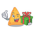 with gift nachos mascot cartoon style vector image vector image