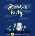 zombie party poster with zombies hands vector image vector image