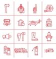 Fire Department contour icons vector image