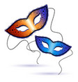 two Venetian carnival masks on a white background vector image