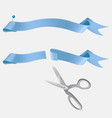 scissors cutting blue ribbon realistic vector image