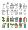set of gift packages Christmas gifts vector image