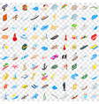 100 maritime icons set isometric 3d style vector image vector image