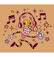 Abstract music character with headphones vector image vector image