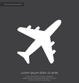 airplane premium icon white on dark background vector image vector image