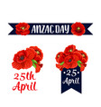 anzac day 25 april red poppy icons vector image