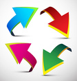 Arrows Colorful 3D Arrows Set Isolated on L vector image