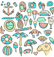 Big set of objects summer pineapple and vector image vector image