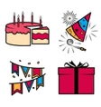 Birthday party celebration icons set vector image