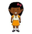 black little girl character vector image vector image