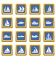boat and ship icons set blue vector image vector image
