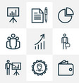 business outline icons set collection of business vector image vector image