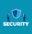 business security team have shield conceptflat vector image