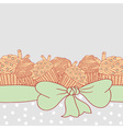 Card with muffins tied with ribbon and bow vector image vector image