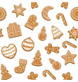 cartoon christmas cookies seamless pattern vector image