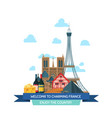 cartoon france sights and vector image vector image