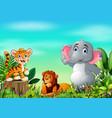 cartoon wild animal in the beautiful garden vector image vector image