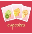 cupcake stamps vector image vector image
