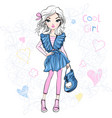 cute fashionable girl vector image vector image