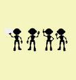 cute robot silhouettes vector image