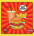 fast food comic style poster vector image