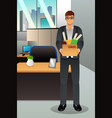 fired businessman carrying a box vector image vector image